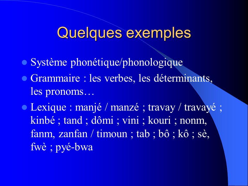 Quelques exemples Système phonétique/phonologique