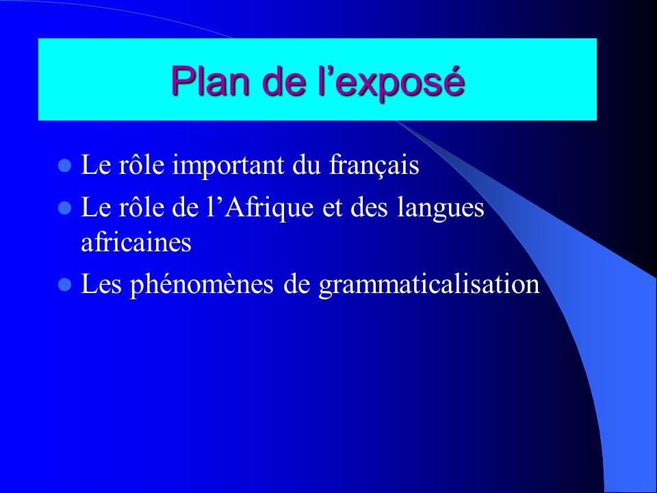Plan de l'exposé Le rôle important du français