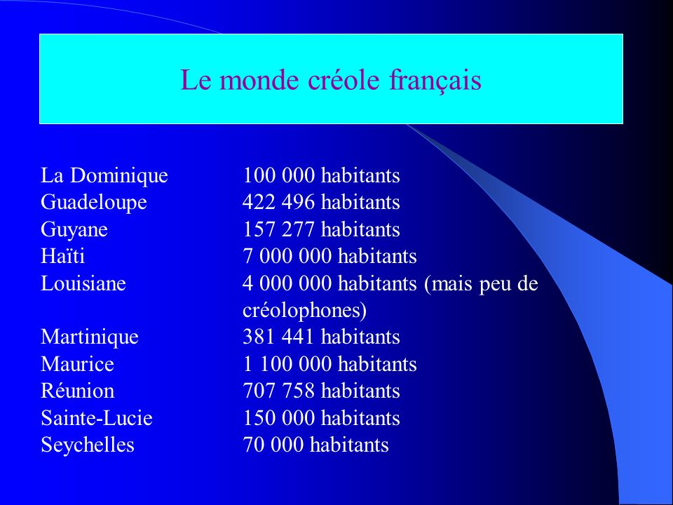 Le monde créole français