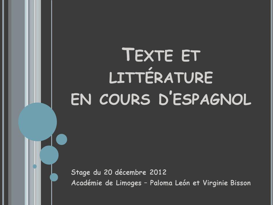 Texte et littérature en cours d'espagnol