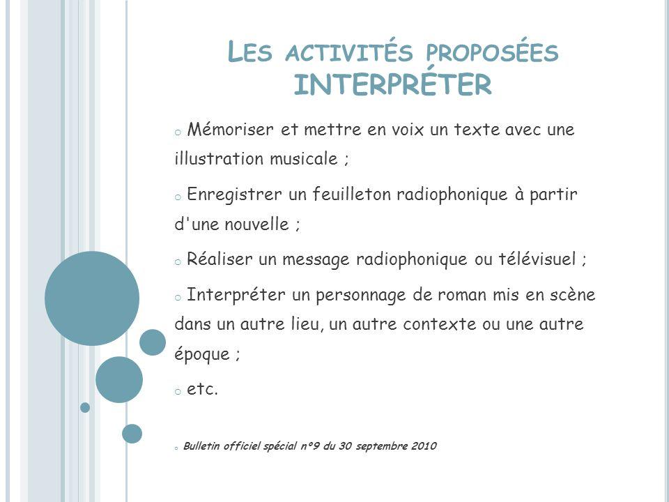 Les activités proposées INTERPRÉTER