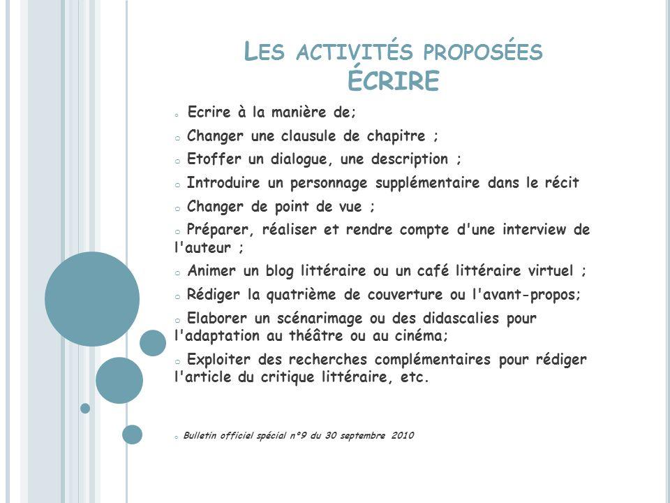 Les activités proposées ÉCRIRE