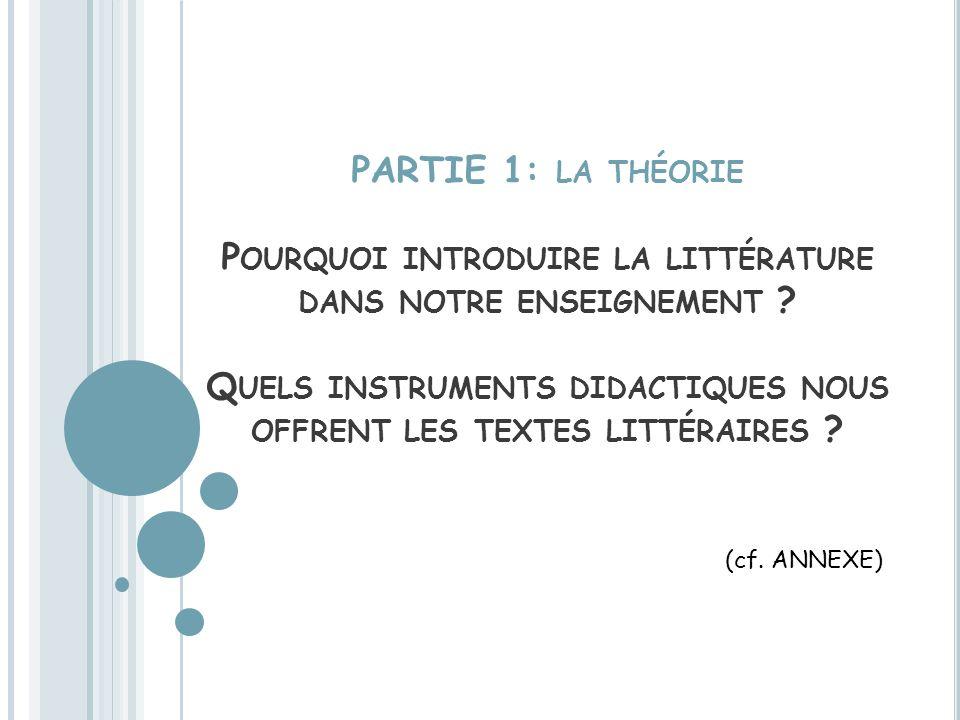PARTIE 1: la théorie Pourquoi introduire la littérature dans notre enseignement Quels instruments didactiques nous offrent les textes littéraires