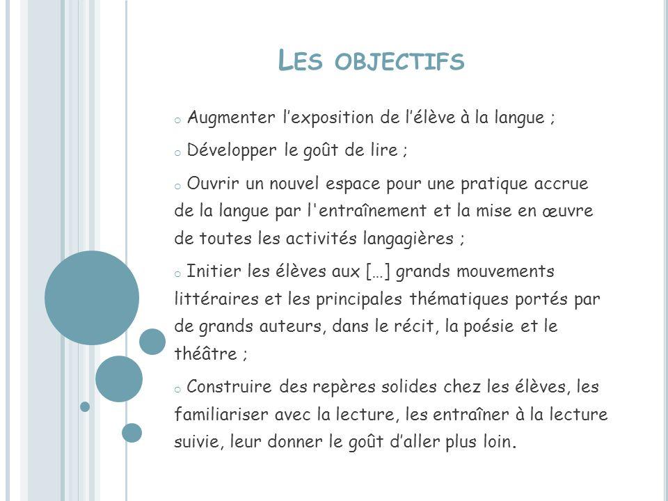 Les objectifs Augmenter l'exposition de l'élève à la langue ;
