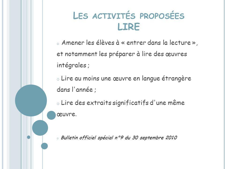 Les activités proposées LIRE