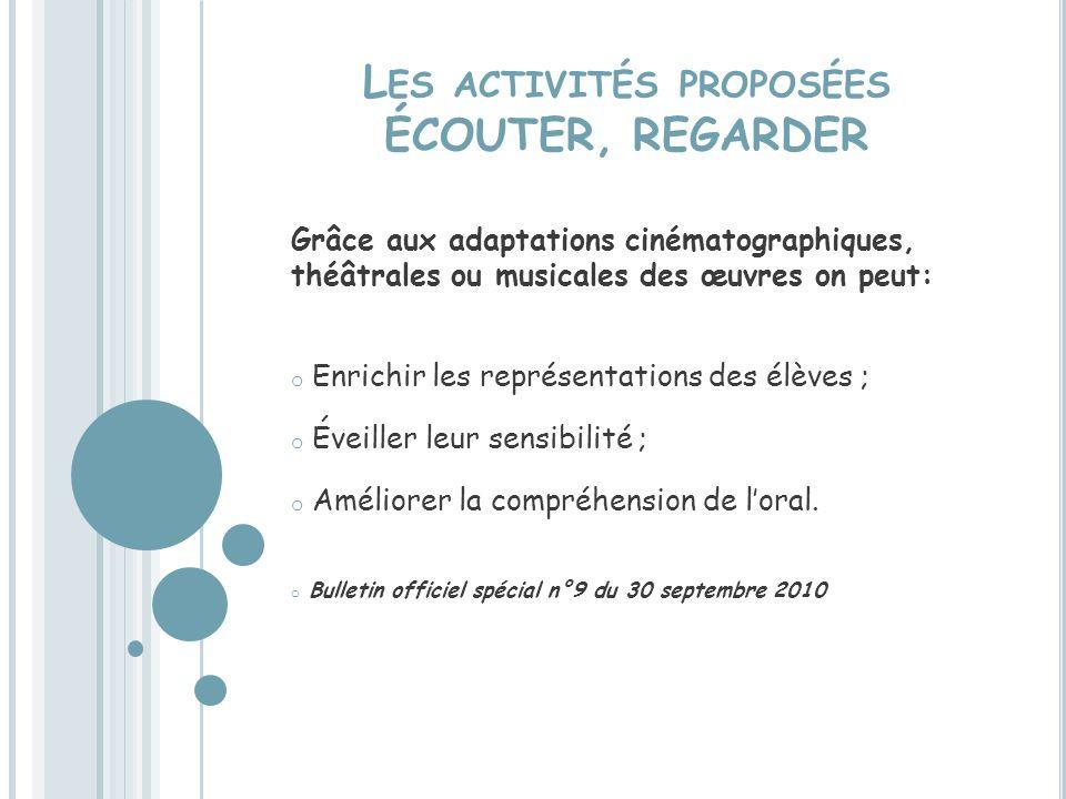 Les activités proposées ÉCOUTER, REGARDER