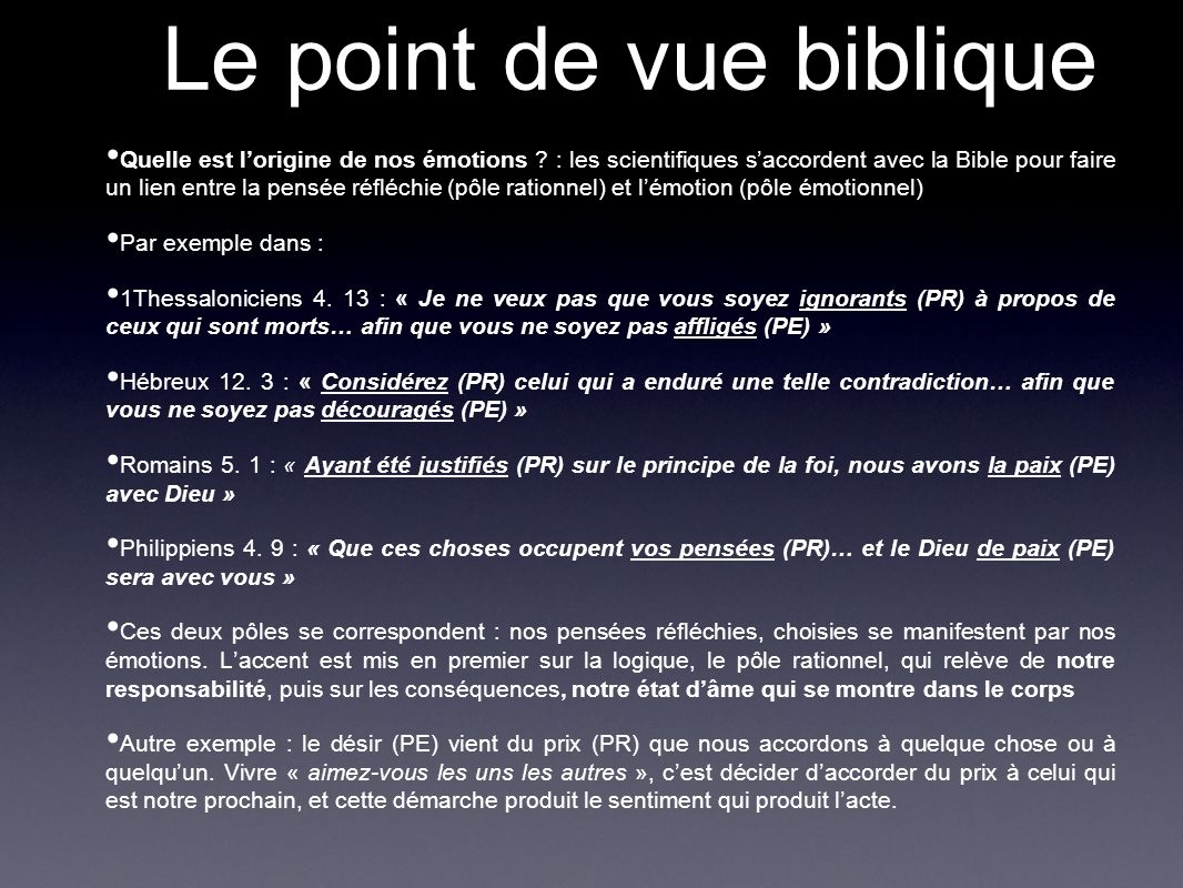 Le point de vue biblique
