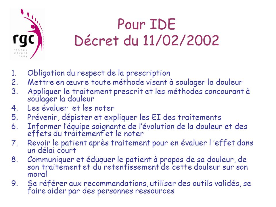 Pour IDE Décret du 11/02/2002 Obligation du respect de la prescription