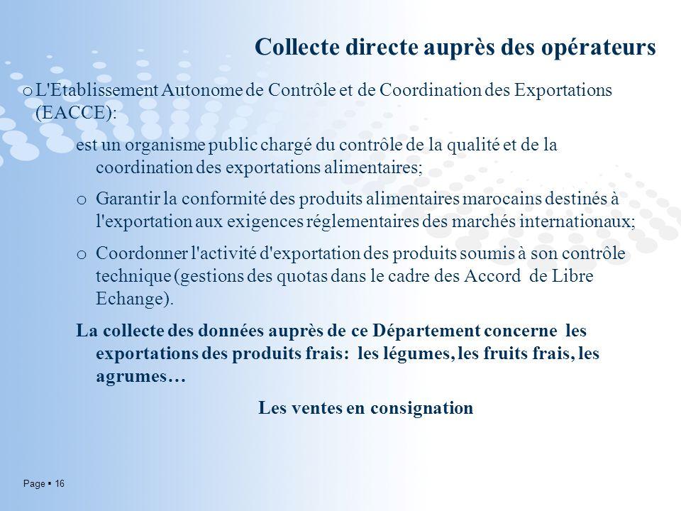 Collecte directe auprès des opérateurs
