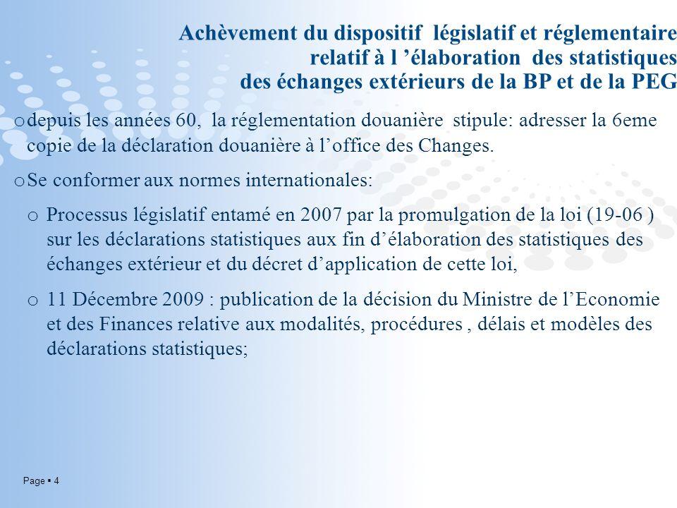 Achèvement du dispositif législatif et réglementaire relatif à l 'élaboration des statistiques des échanges extérieurs de la BP et de la PEG