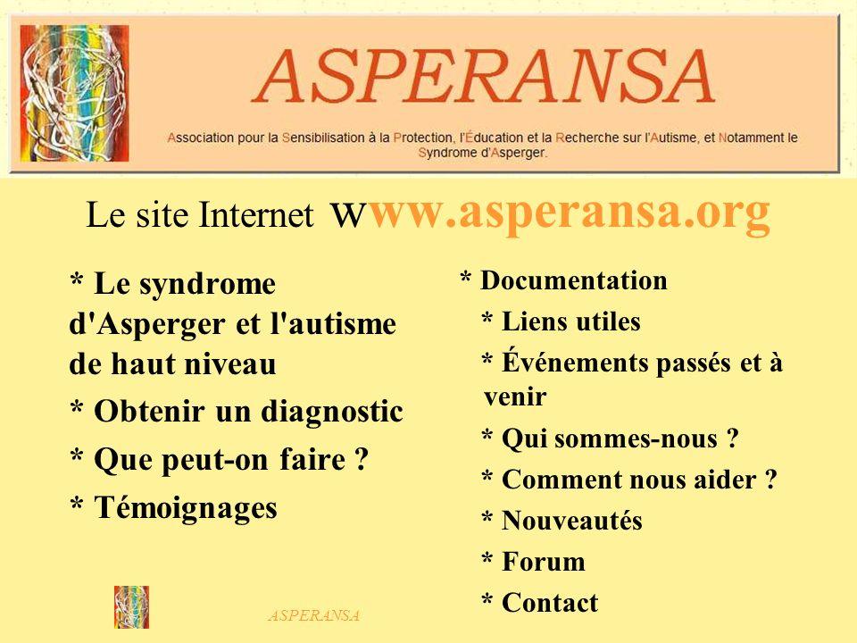 Le site Internet www.asperansa.org