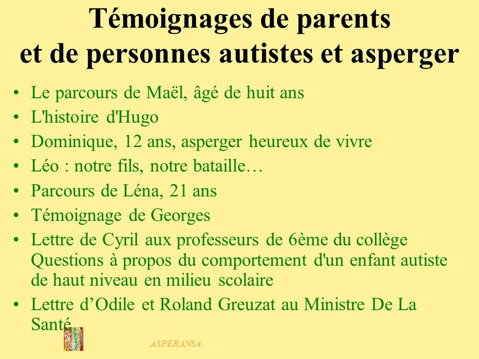 Témoignages de parents et de personnes autistes et asperger