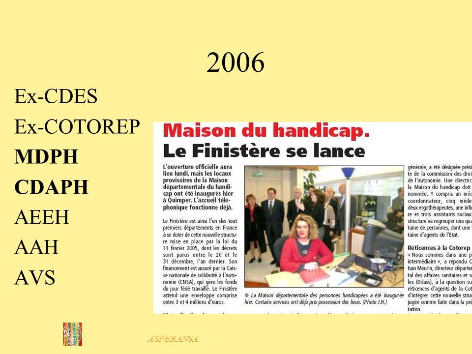 2006 Ex-CDES Ex-COTOREP MDPH CDAPH AEEH AAH AVS ASPERANSA