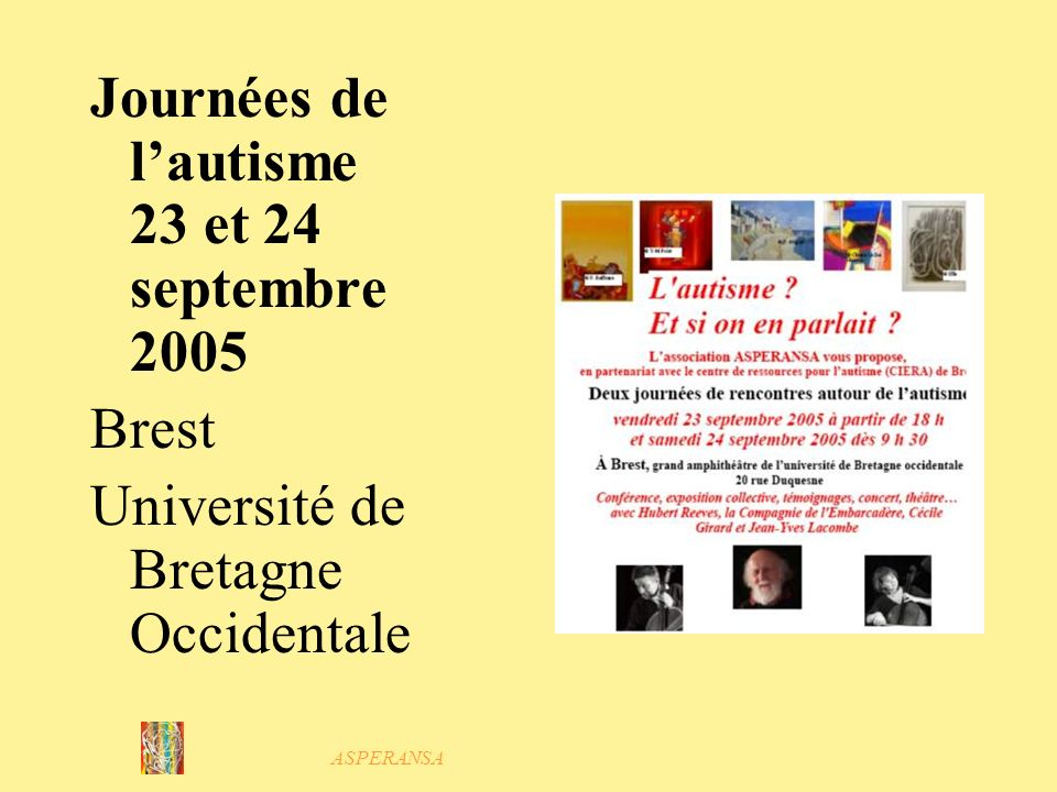 Journées de l'autisme 23 et 24 septembre 2005