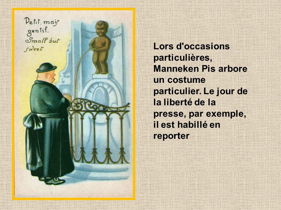 Lors d occasions particulières, Manneken Pis arbore un costume particulier.