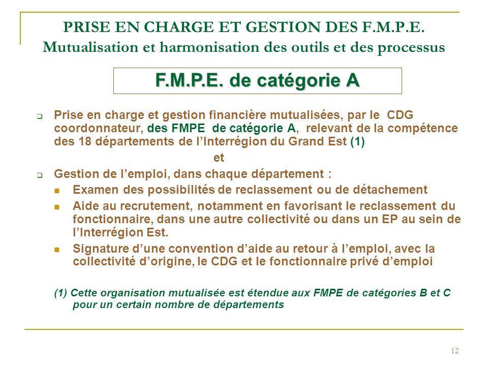 PRISE EN CHARGE ET GESTION DES F. M. P. E