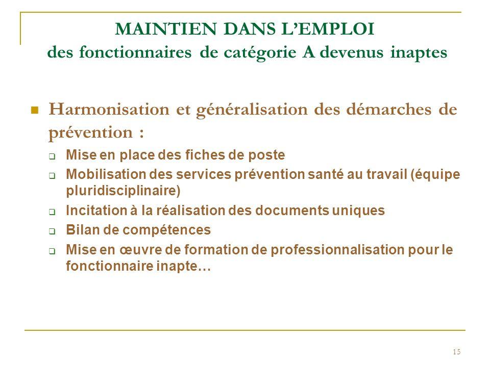 Harmonisation et généralisation des démarches de prévention :