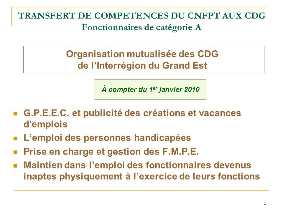 Organisation mutualisée des CDG de l'Interrégion du Grand Est