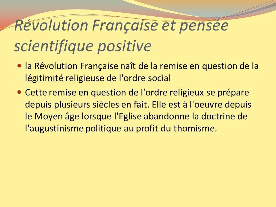Révolution Française et pensée scientifique positive