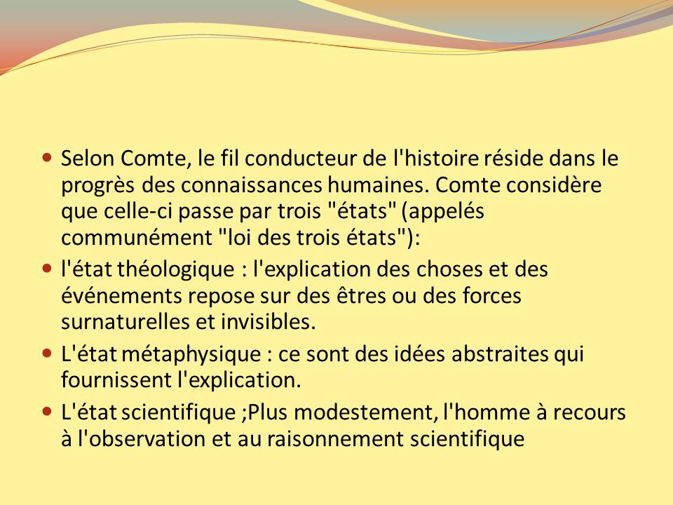 Selon Comte, le fil conducteur de l histoire réside dans le progrès des connaissances humaines. Comte considère que celle-ci passe par trois états (appelés communément loi des trois états ):