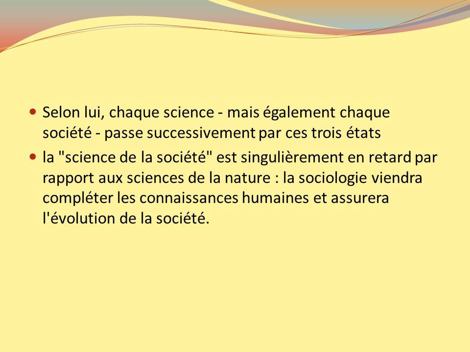Selon lui, chaque science - mais également chaque société - passe successivement par ces trois états