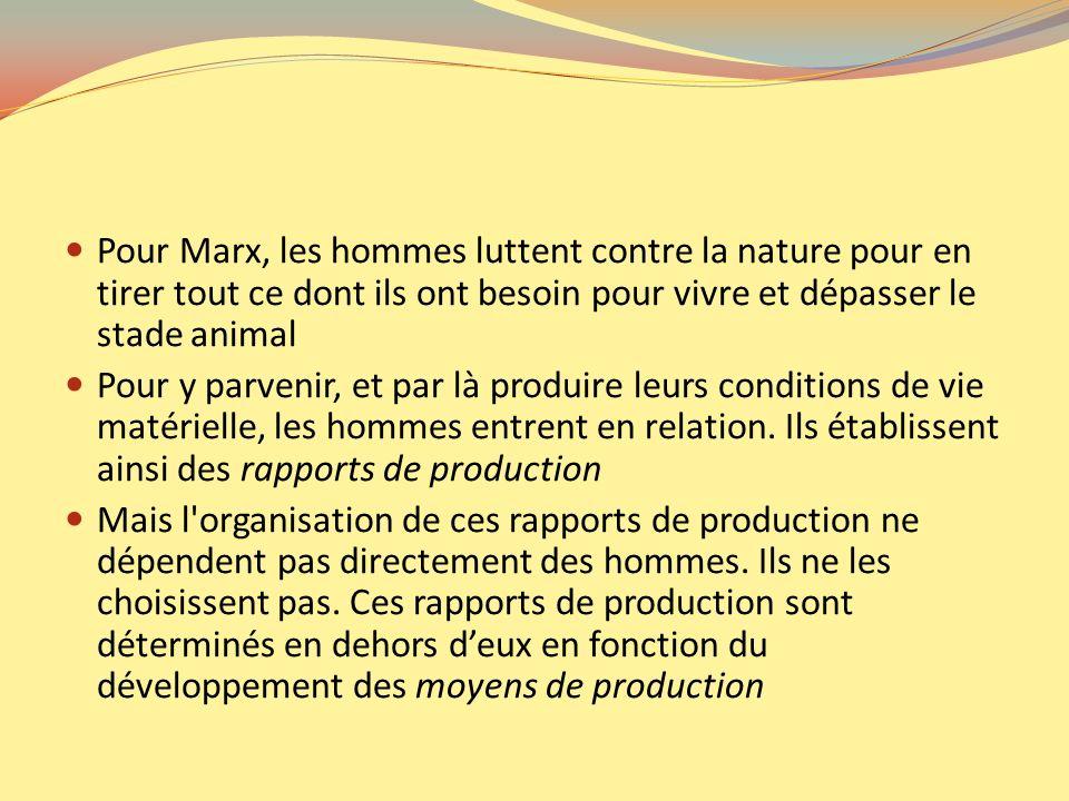 Pour Marx, les hommes luttent contre la nature pour en tirer tout ce dont ils ont besoin pour vivre et dépasser le stade animal