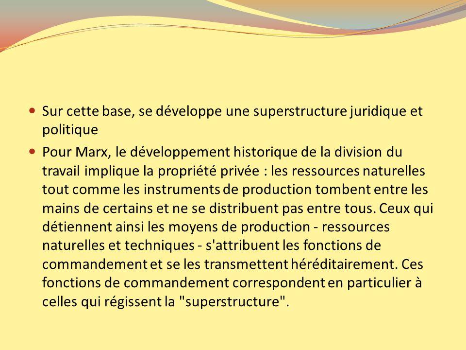Sur cette base, se développe une superstructure juridique et politique