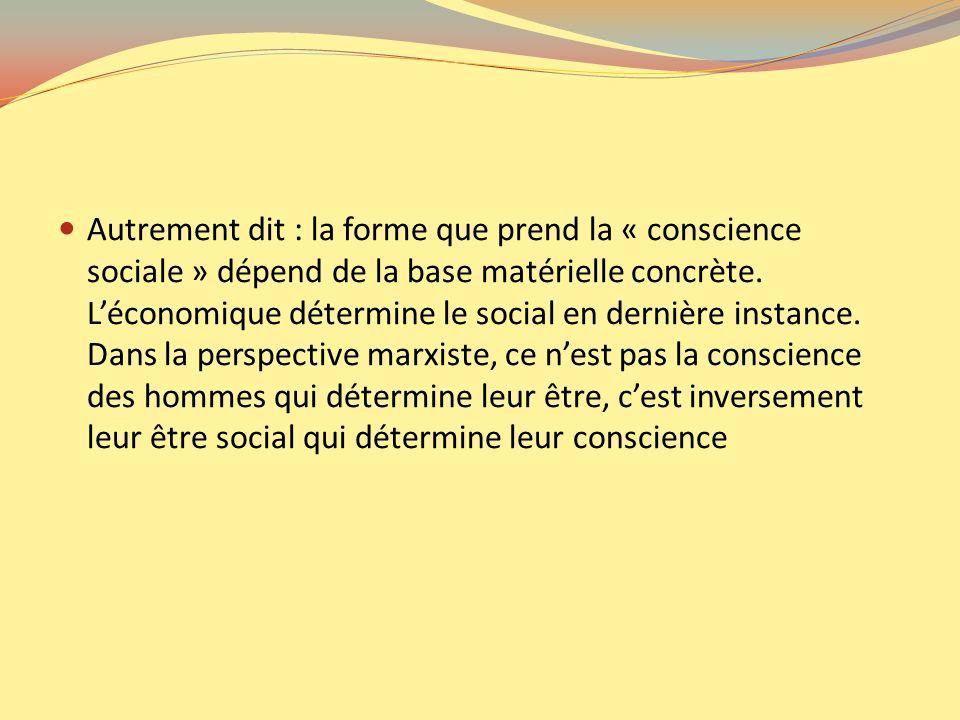 Autrement dit : la forme que prend la « conscience sociale » dépend de la base matérielle concrète.