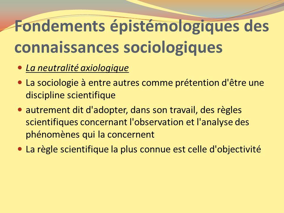 Fondements épistémologiques des connaissances sociologiques