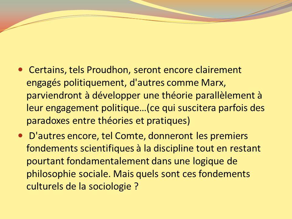 Certains, tels Proudhon, seront encore clairement engagés politiquement, d autres comme Marx, parviendront à développer une théorie parallèlement à leur engagement politique…(ce qui suscitera parfois des paradoxes entre théories et pratiques)