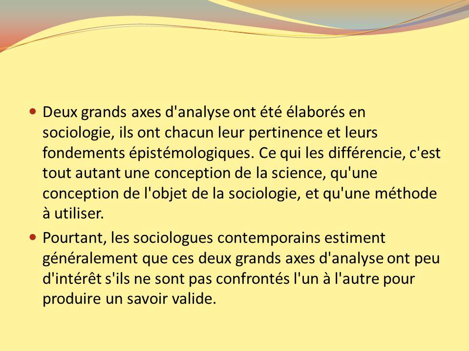 Deux grands axes d analyse ont été élaborés en sociologie, ils ont chacun leur pertinence et leurs fondements épistémologiques. Ce qui les différencie, c est tout autant une conception de la science, qu une conception de l objet de la sociologie, et qu une méthode à utiliser.