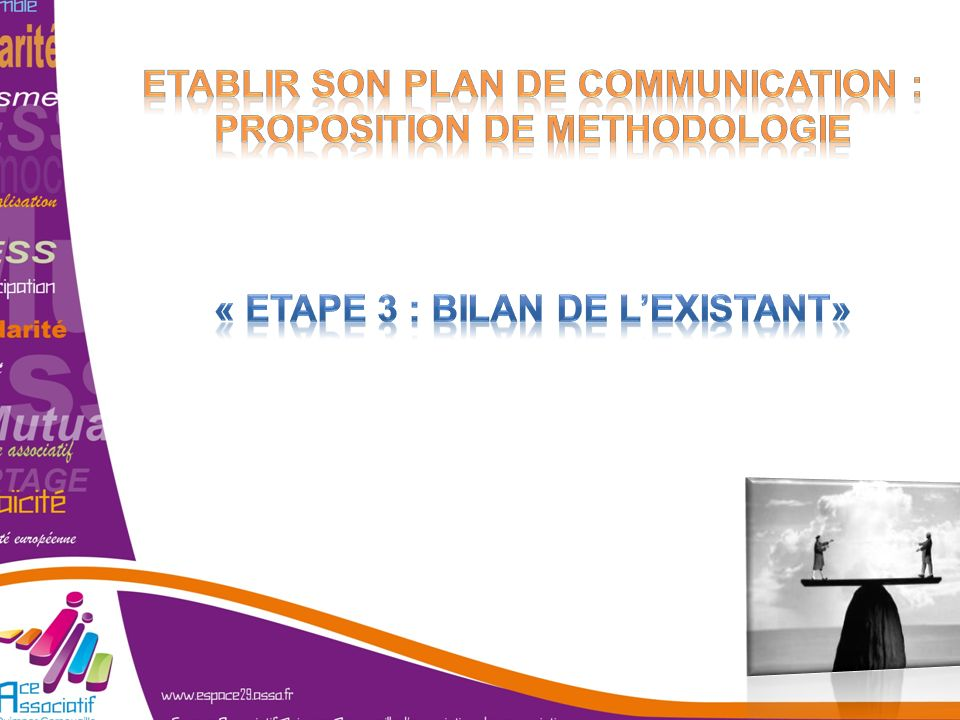 ETABLIR SON PLAN DE COMMUNICATION : PROPOSITION DE METHODOLOGIE « Etape 3 : bilan de l'existant»