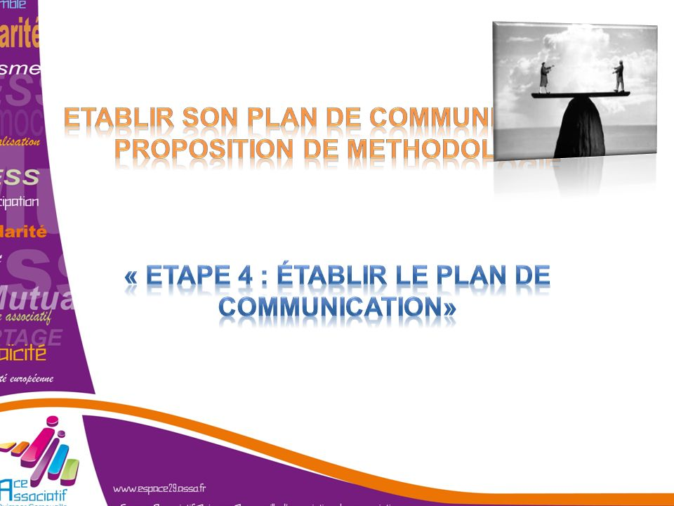 ETABLIR SON PLAN DE COMMUNICATION : PROPOSITION DE METHODOLOGIE « Etape 4 : établir le plan de communication»