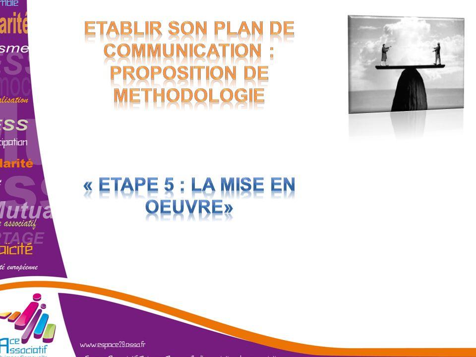 ETABLIR SON PLAN DE COMMUNICATION : PROPOSITION DE METHODOLOGIE « Etape 5 : la mise en oeuvre»