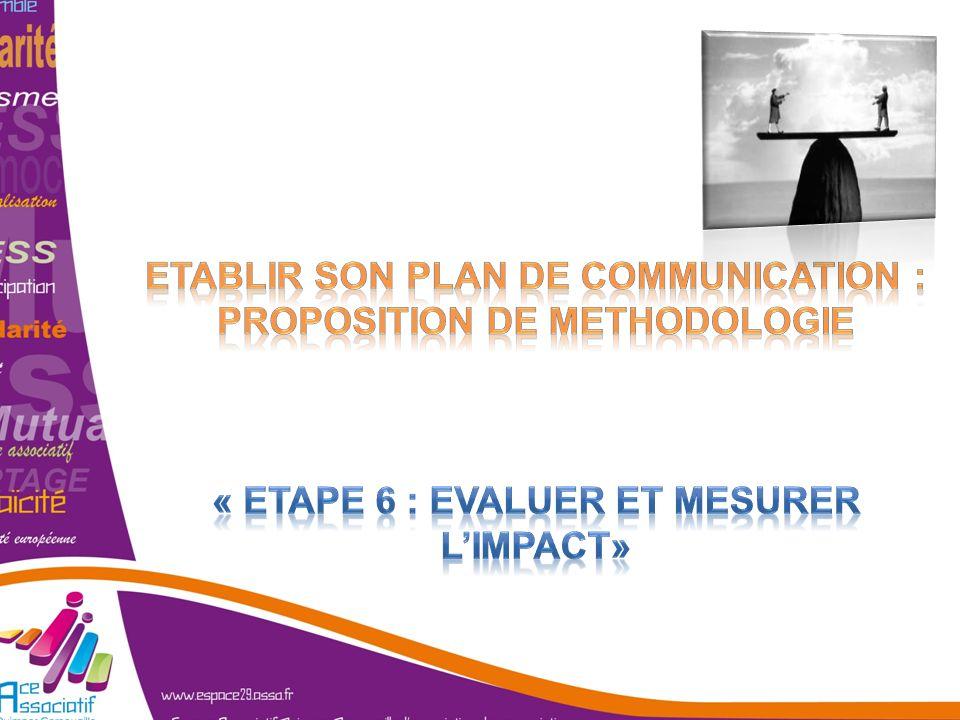 ETABLIR SON PLAN DE COMMUNICATION : PROPOSITION DE METHODOLOGIE « Etape 6 : Evaluer et mesurer l'impact»