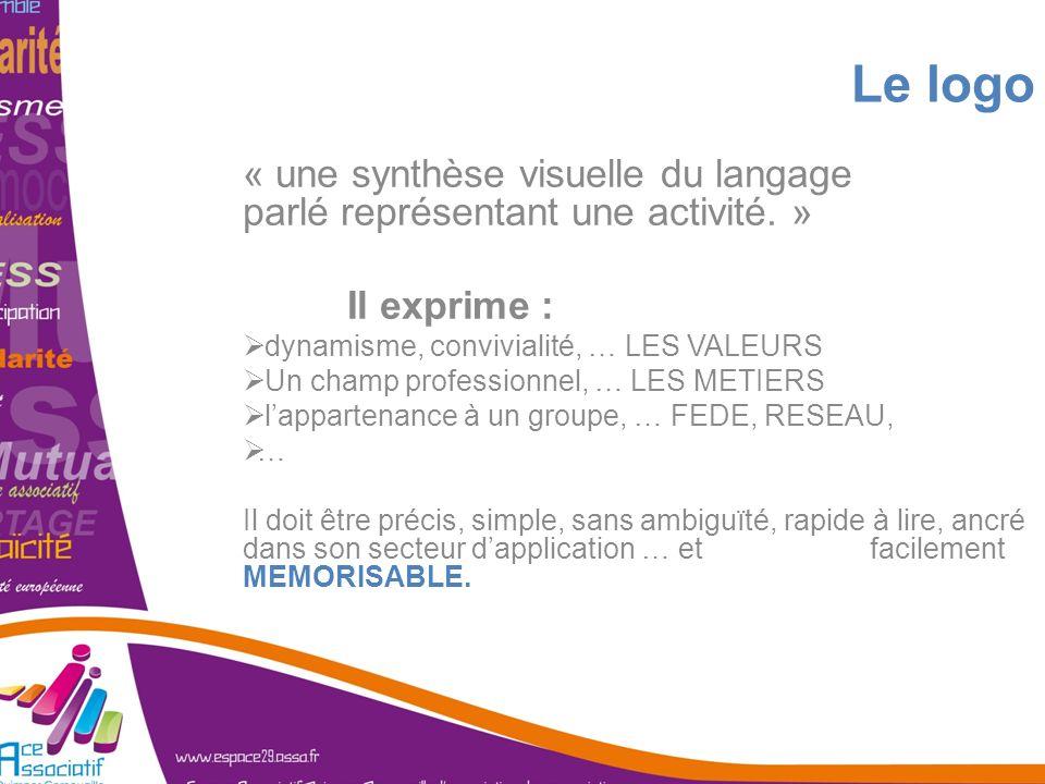 Le logo« une synthèse visuelle du langage parlé représentant une activité. » Il exprime : dynamisme, convivialité, … LES VALEURS.