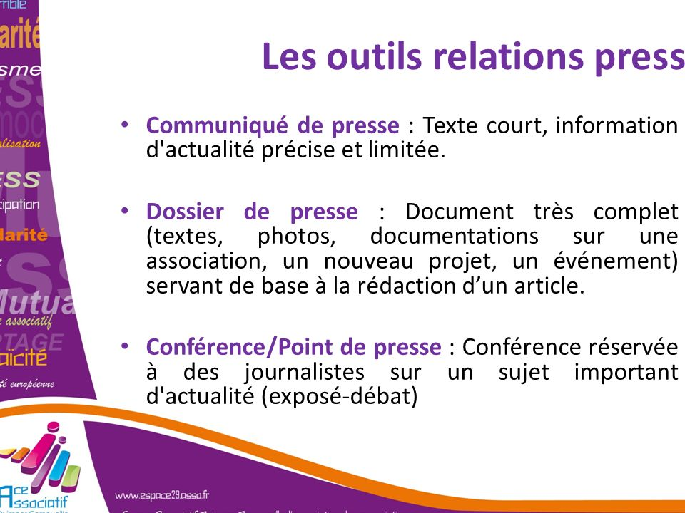 Les outils relations presse