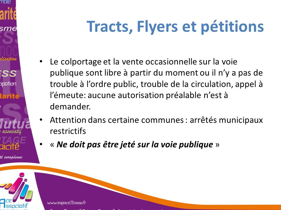 Tracts, Flyers et pétitions