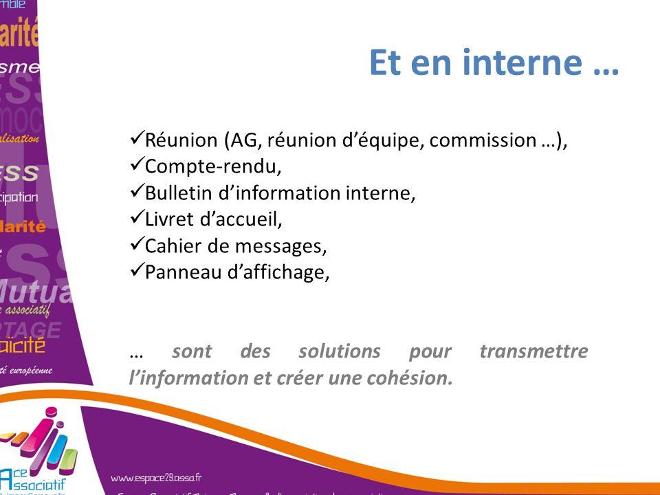 Et en interne … Réunion (AG, réunion d'équipe, commission …),
