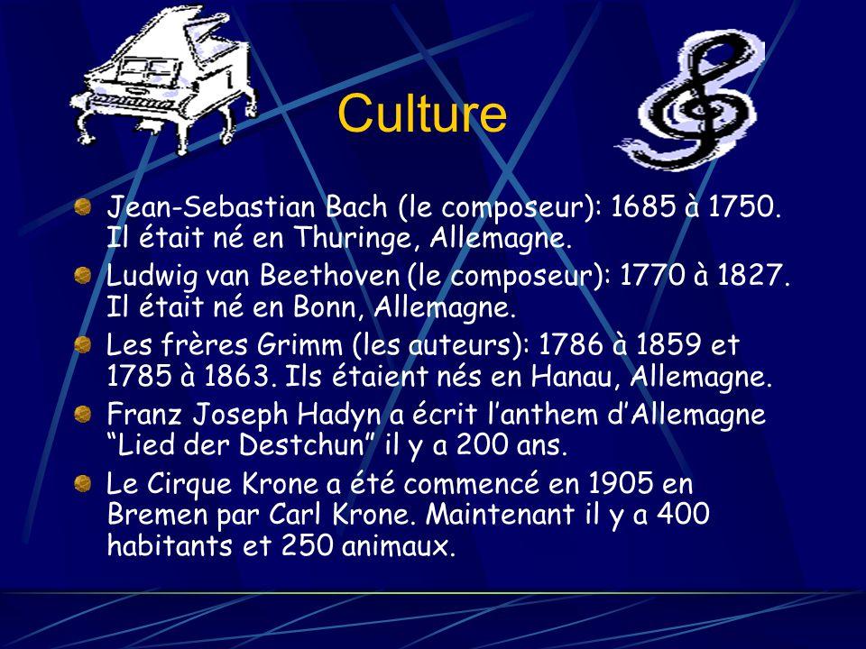 Culture Jean-Sebastian Bach (le composeur): 1685 à 1750. Il était né en Thuringe, Allemagne.