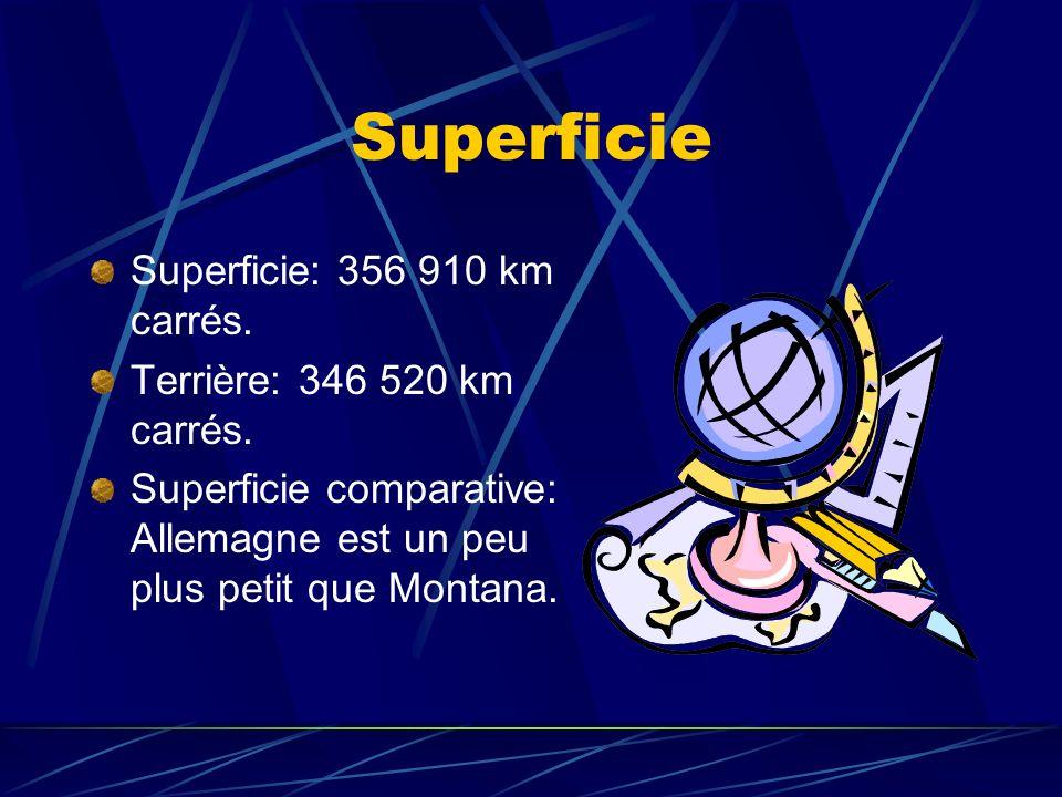 Superficie Superficie: 356 910 km carrés. Terrière: 346 520 km carrés.