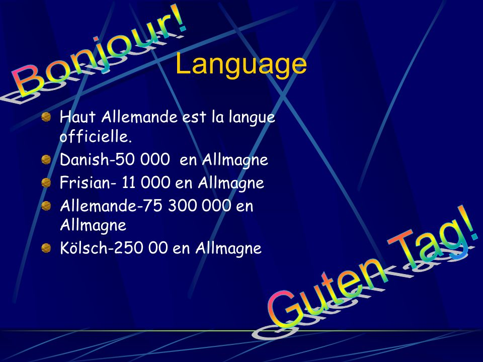 Language Bonjour! Guten Tag! Haut Allemande est la langue officielle.