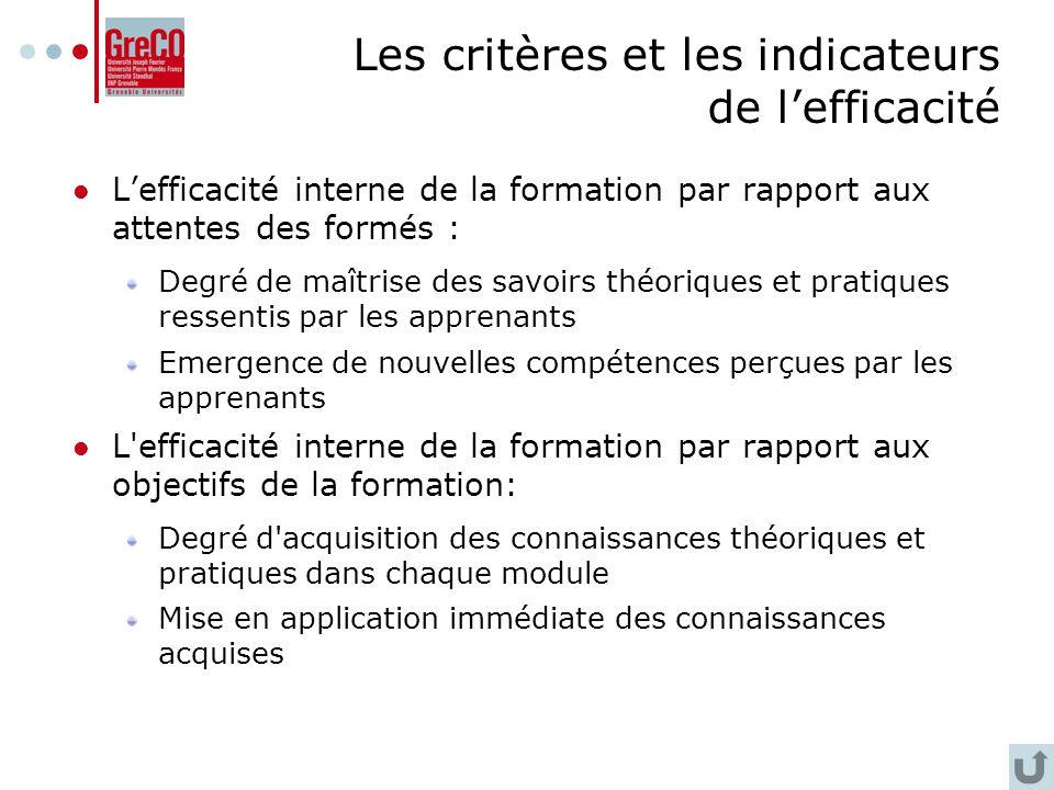 Les critères et les indicateurs de l'efficacité