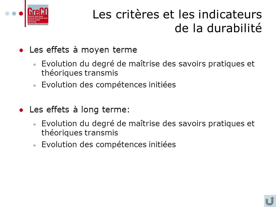 Les critères et les indicateurs de la durabilité