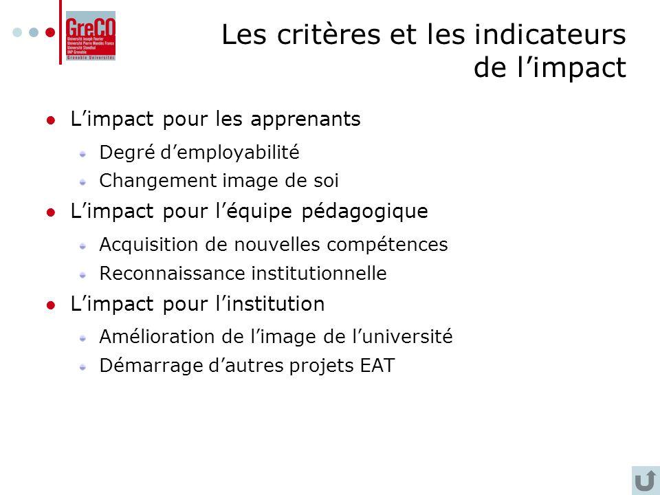 Les critères et les indicateurs de l'impact
