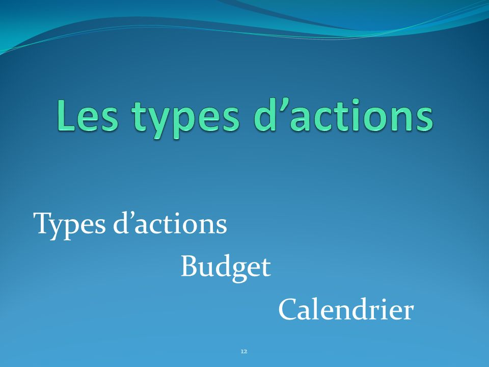 Les types d'actions Types d'actions Budget Calendrier