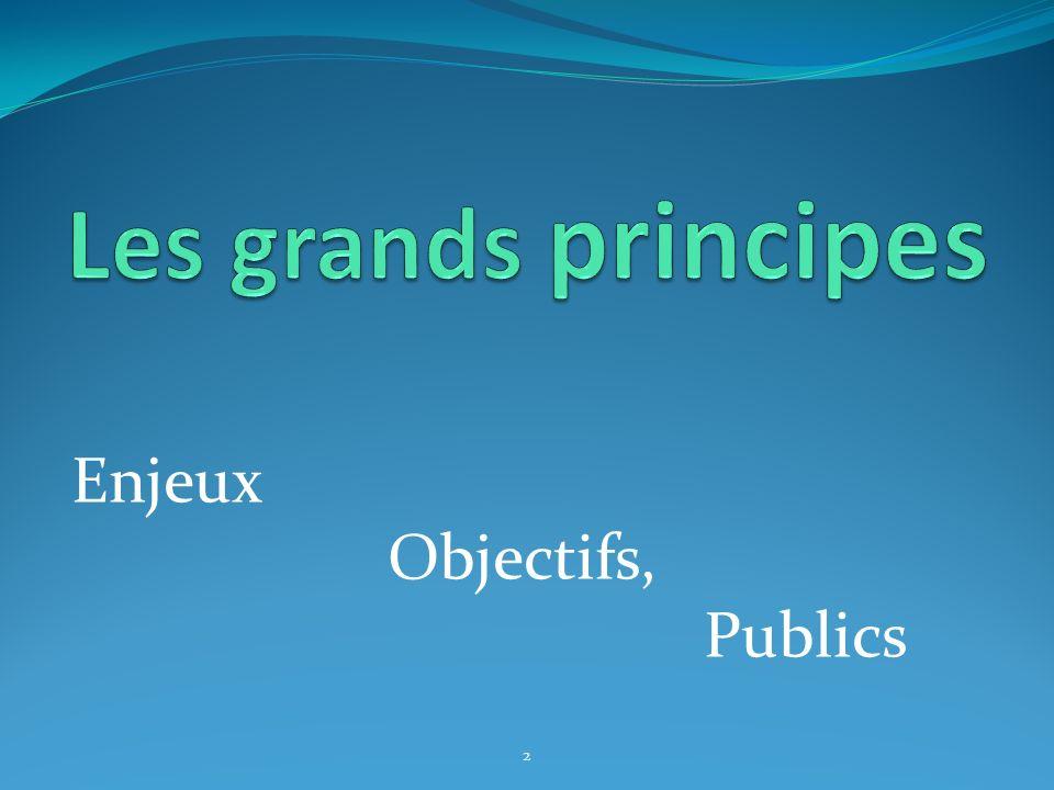 Les grands principes Enjeux Objectifs, Publics