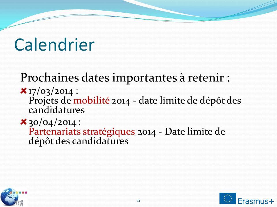 Calendrier Prochaines dates importantes à retenir :