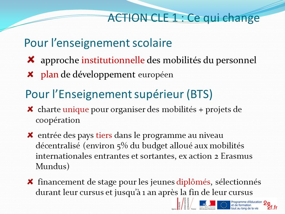 ACTION CLE 1 : Ce qui change