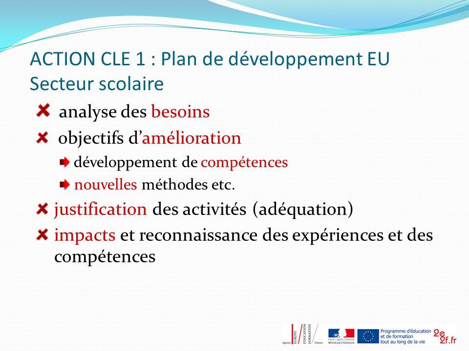 ACTION CLE 1 : Plan de développement EU Secteur scolaire
